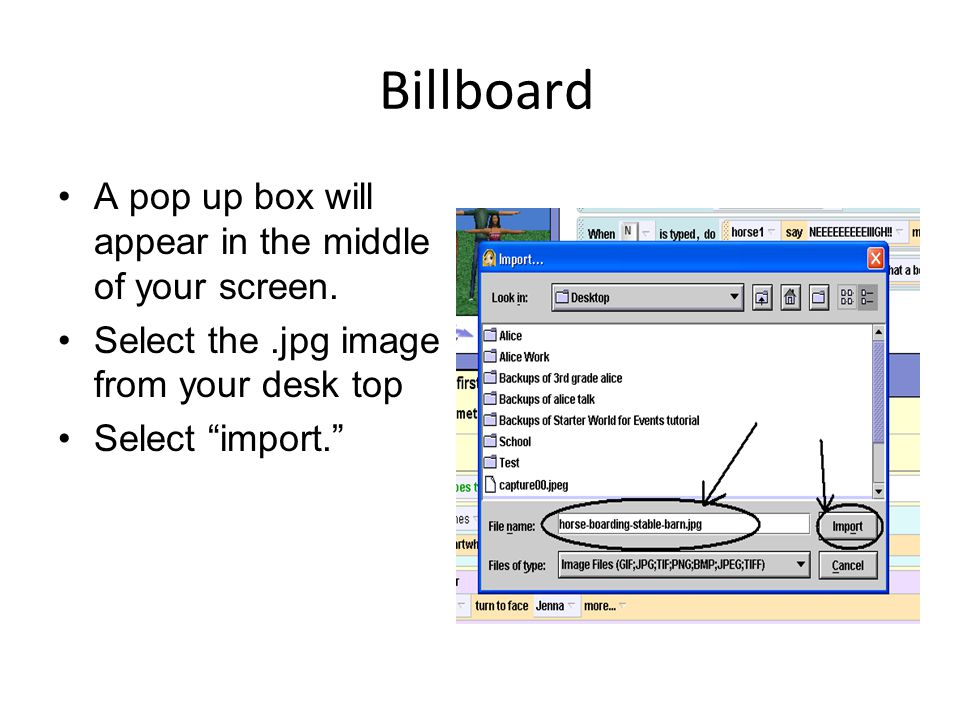 Billboard A pop up box will appear in the middle of your screen.