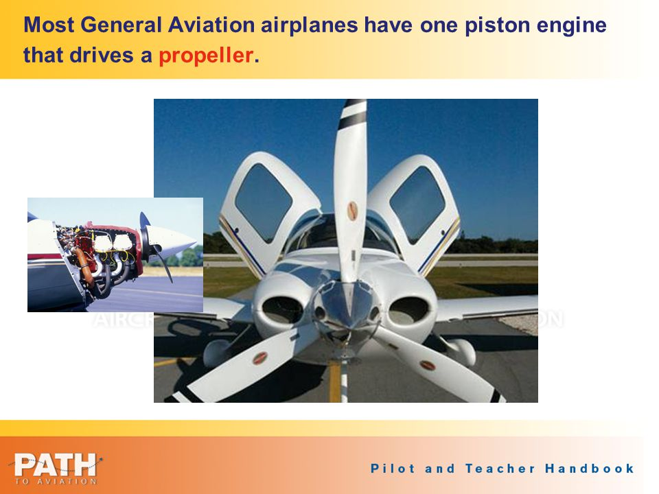 Most General Aviation airplanes have one piston engine that drives a propeller.