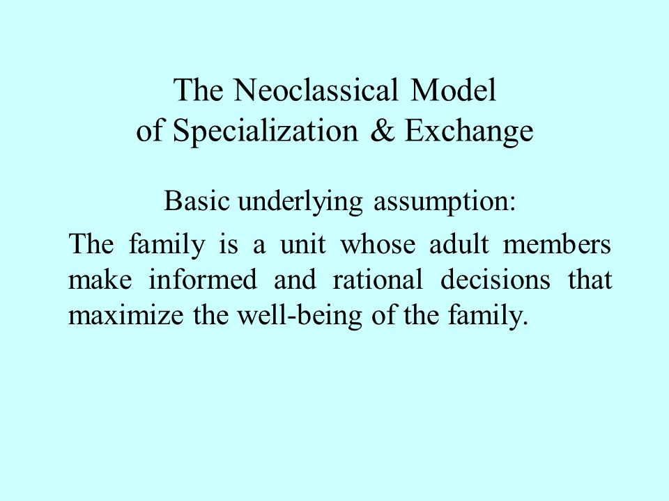 Family well-being or utility is maximized by selecting the combination of commodities from which the family derives the greatest satisfaction.