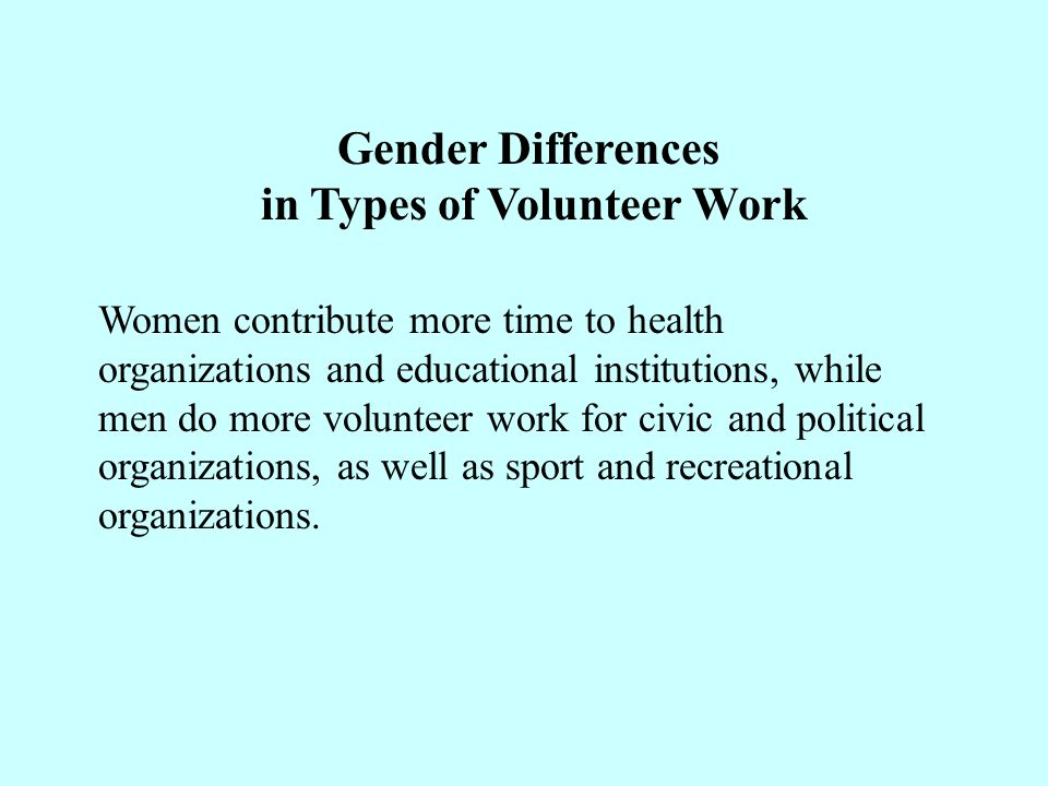 Gender Differences in Types of Volunteer Work Women contribute more time to health organizations and educational institutions, while men do more volunteer work for civic and political organizations, as well as sport and recreational organizations.