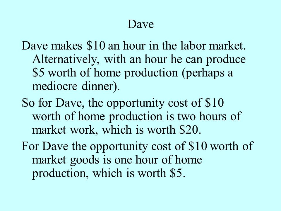Dave Dave makes $10 an hour in the labor market.