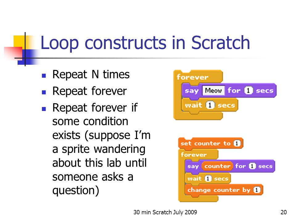 30 min Scratch July 200920 Loop constructs in Scratch Repeat N times Repeat forever Repeat forever if some condition exists (suppose I'm a sprite wand