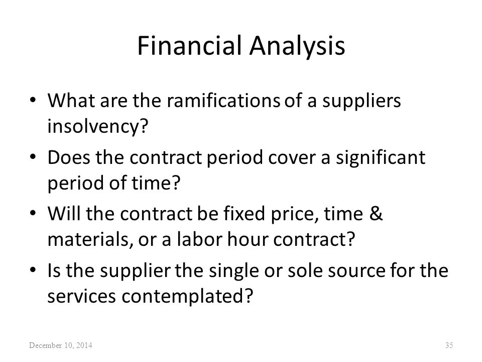 Financial Analysis What are the ramifications of a suppliers insolvency.