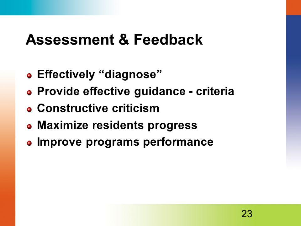 Assessment & Feedback Effectively diagnose Provide effective guidance - criteria Constructive criticism Maximize residents progress Improve programs performance 23