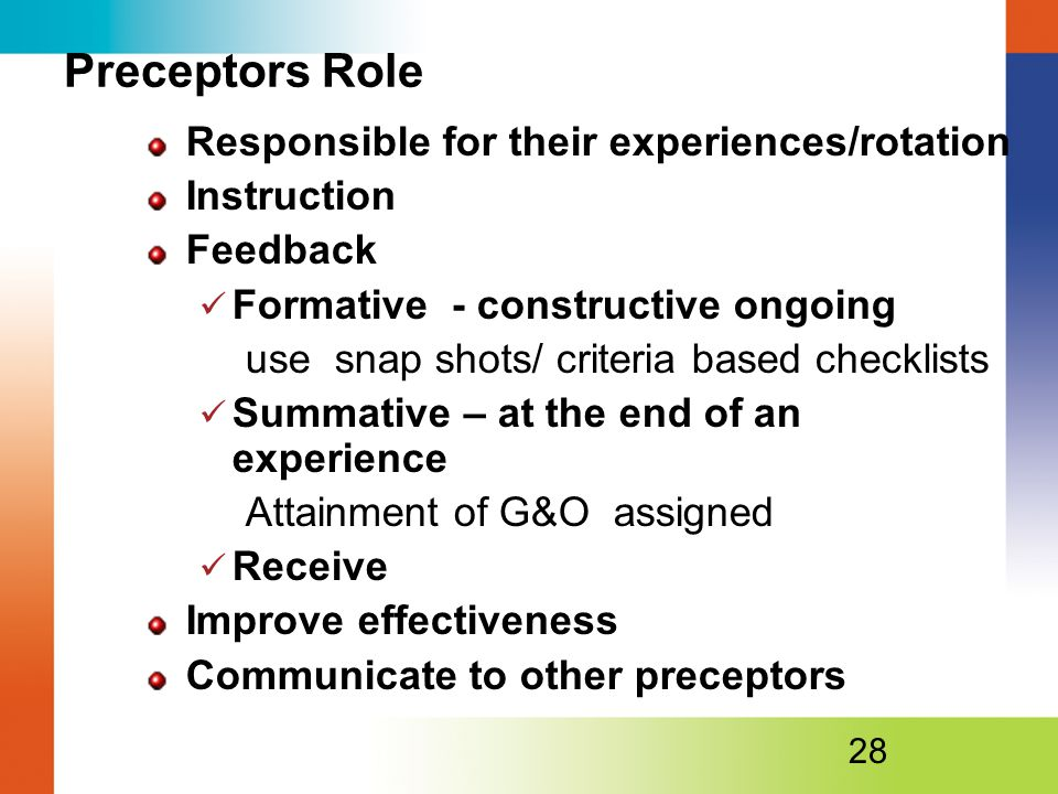 Preceptors Role Responsible for their experiences/rotation Instruction Feedback Formative - constructive ongoing use snap shots/ criteria based checklists Summative – at the end of an experience Attainment of G&O assigned Receive Improve effectiveness Communicate to other preceptors 28