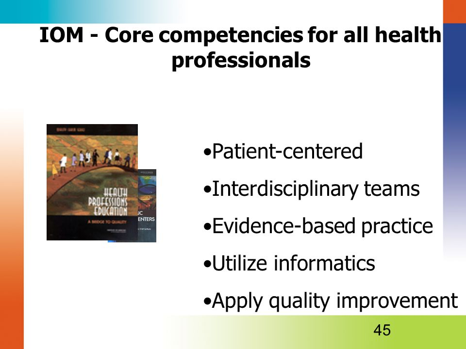 Patient-centered Interdisciplinary teams Evidence-based practice Utilize informatics Apply quality improvement 45 IOM - Core competencies for all health professionals