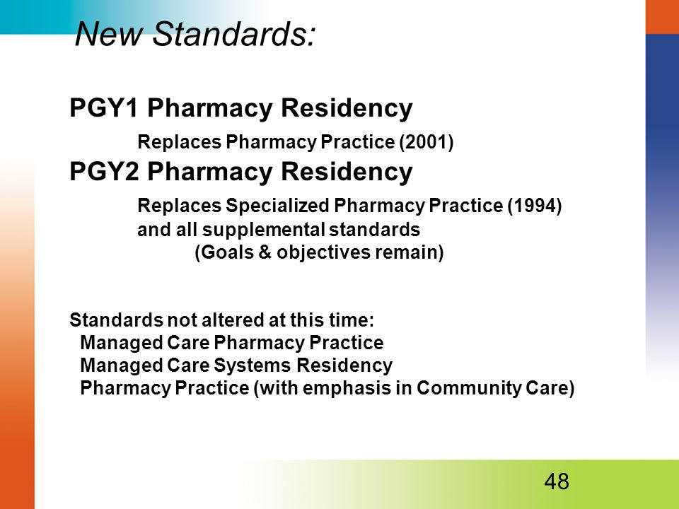 PGY1 Pharmacy Residency Replaces Pharmacy Practice (2001) PGY2 Pharmacy Residency Replaces Specialized Pharmacy Practice (1994) and all supplemental standards (Goals & objectives remain) Standards not altered at this time: Managed Care Pharmacy Practice Managed Care Systems Residency Pharmacy Practice (with emphasis in Community Care) 48 New Standards: