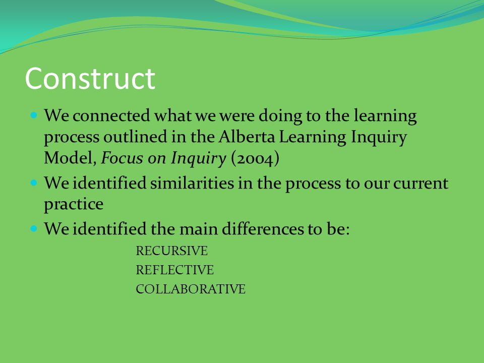 Construct We connected what we were doing to the learning process outlined in the Alberta Learning Inquiry Model, Focus on Inquiry (2004) We identified similarities in the process to our current practice We identified the main differences to be: RECURSIVE REFLECTIVE COLLABORATIVE