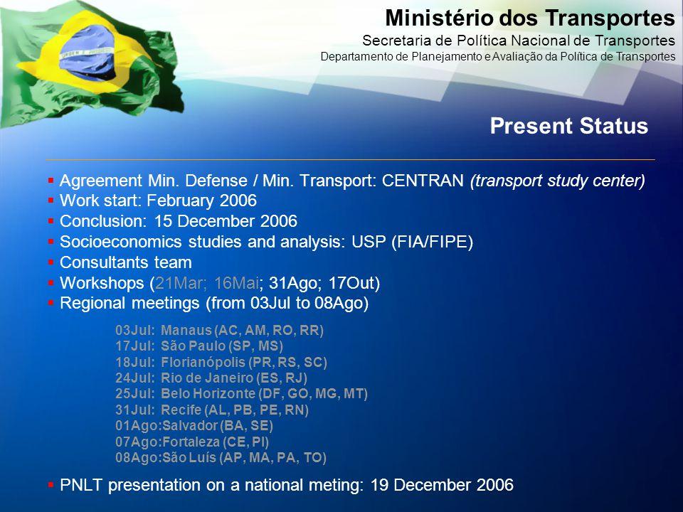 Ministério dos Transportes Secretaria de Política Nacional de Transportes Departamento de Planejamento e Avaliação da Política de Transportes  Agreem