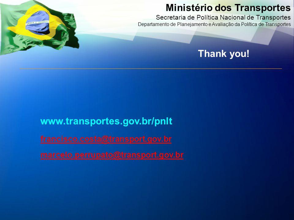 Ministério dos Transportes Secretaria de Política Nacional de Transportes Departamento de Planejamento e Avaliação da Política de Transportes www.transportes.gov.br/pnlt francisco.costa@transport.gov.br marcelo.perrupato@transport.gov.br Thank you!