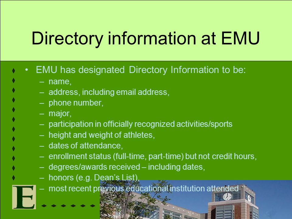 Directory information at EMU EMU has designated Directory Information to be: –name, –address, including email address, –phone number, –major, –partici