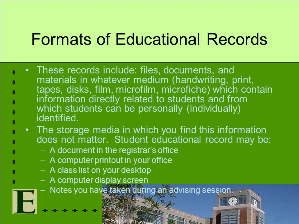 Formats of Educational Records These records include: files, documents, and materials in whatever medium (handwriting, print, tapes, disks, film, micr