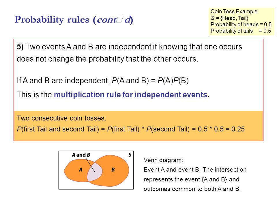 Coin Toss Example: S = {Head, Tail} Probability of heads = 0.5 Probability of tails = 0.5 5) Two events A and B are independent if knowing that one occurs does not change the probability that the other occurs.