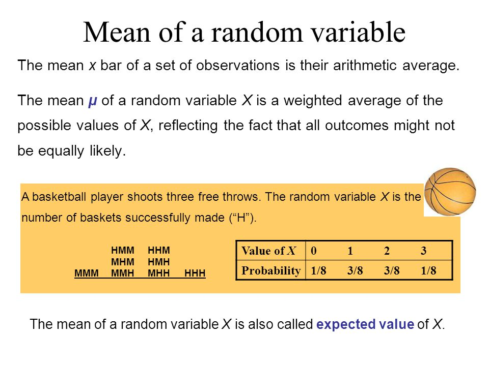 Mean of a random variable The mean x bar of a set of observations is their arithmetic average.