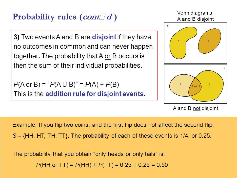 Probability rules (contd ) 3) Two events A and B are disjoint if they have no outcomes in common and can never happen together.