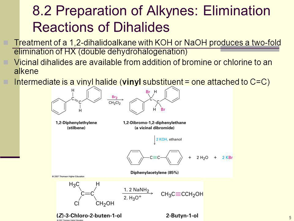 16 8.5 Reduction of Alkynes Addition of H 2 over a metal catalyst (such as palladium on carbon, Pd/C) converts alkynes to alkanes (complete reduction) The addition of the first equivalent of H 2 produces an alkene, which is more reactive than the alkyne so the alkene is not observed