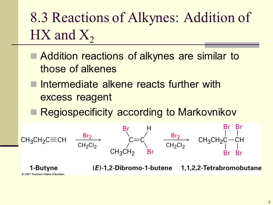 17 Conversion of Alkynes to cis-Alkenes Addition of H 2 using chemically deactivated palladium on calcium carbonate as a catalyst (the Lindlar catalyst) produces a cis alkene The two hydrogens add syn (from the same side of the triple bond) The Lindlar Catalyst will not reduce double bonds