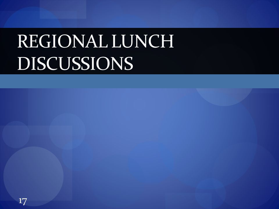 REGIONAL LUNCH DISCUSSIONS 17