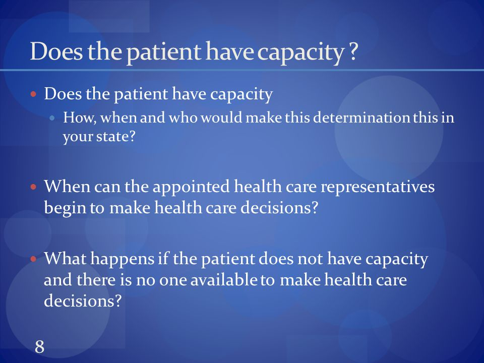 Does the patient have capacity .