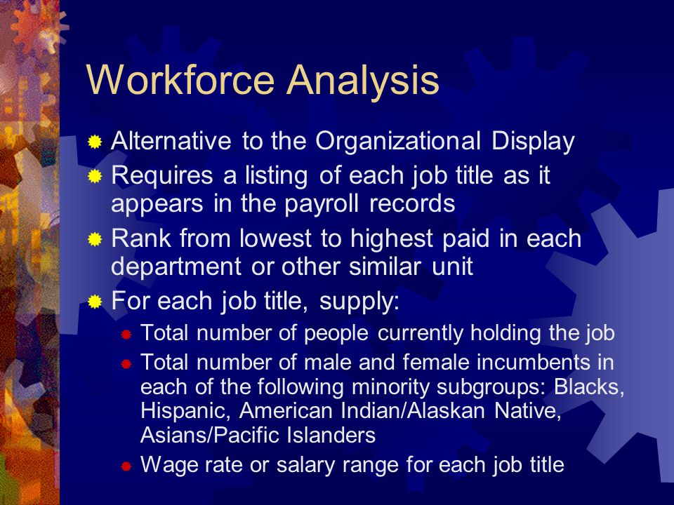 Workforce Analysis  Alternative to the Organizational Display  Requires a listing of each job title as it appears in the payroll records  Rank from