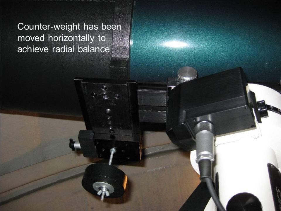 Counter-weight has been moved horizontally to achieve radial balance