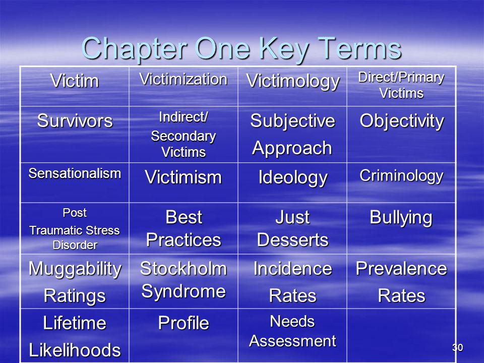 30 Chapter One Key Terms VictimVictimizationVictimology Direct/Primary Victims SurvivorsIndirect/ Secondary Victims SubjectiveApproachObjectivity Sens