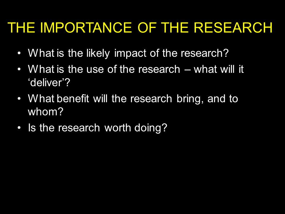 What is the likely impact of the research.