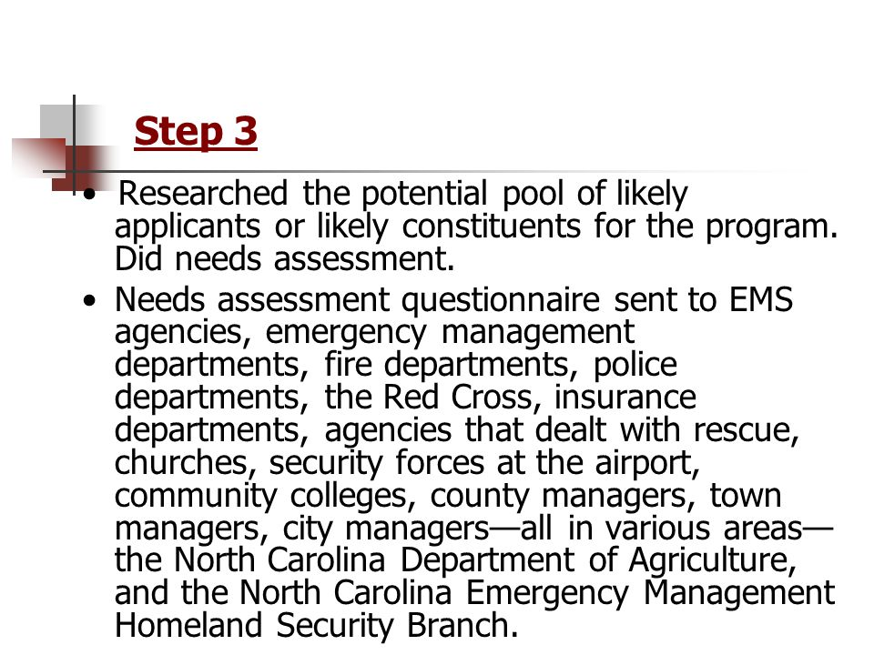 Step 3 Researched the potential pool of likely applicants or likely constituents for the program.
