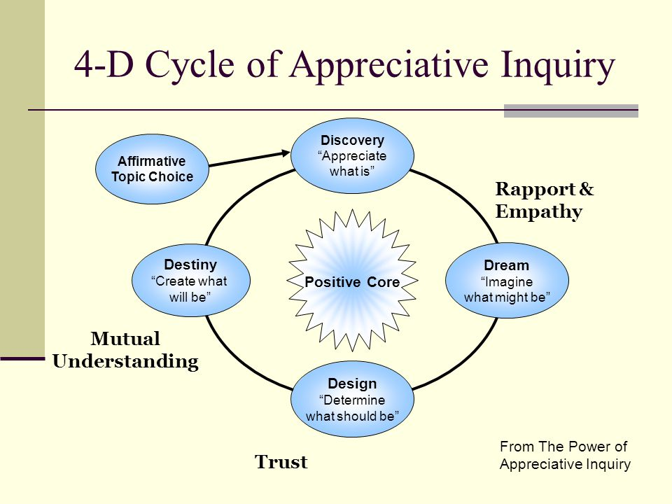 4-D Cycle of Appreciative Inquiry From The Power of Appreciative Inquiry Positive Core Design Determine what should be Affirmative Topic Choice Dream Imagine what might be Discovery Appreciate what is Destiny Create what will be Rapport & Empathy Trust Mutual Understanding