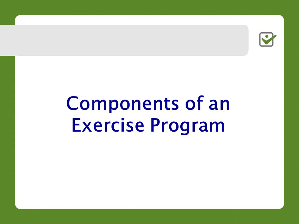 Components of an Exercise Program