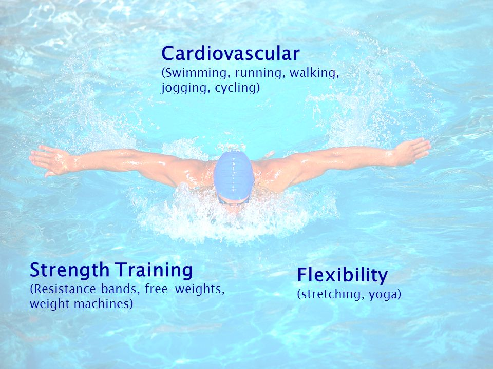 Cardiovascular (Swimming, running, walking, jogging, cycling) Flexibility (stretching, yoga) Strength Training (Resistance bands, free-weights, weight machines)