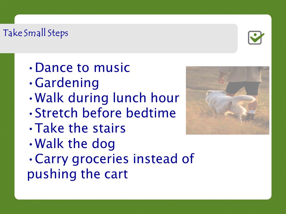 Dance to music Gardening Walk during lunch hour Stretch before bedtime Take the stairs Walk the dog Carry groceries instead of pushing the cart Take Small Steps