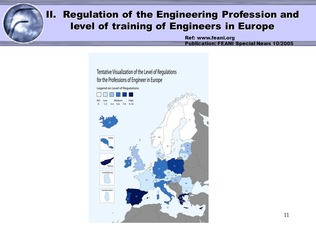 11 < II. Regulation of the Engineering Profession and level of training of Engineers in Europe Ref: www.feani.org Publication: FEANI Special News 10/2