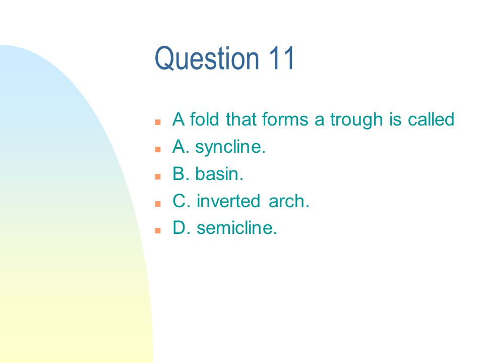 Question 11 n A fold that forms a trough is called n A.