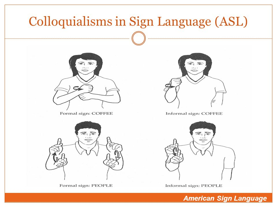 Colloquialisms in Sign Language (ASL) American Sign Language