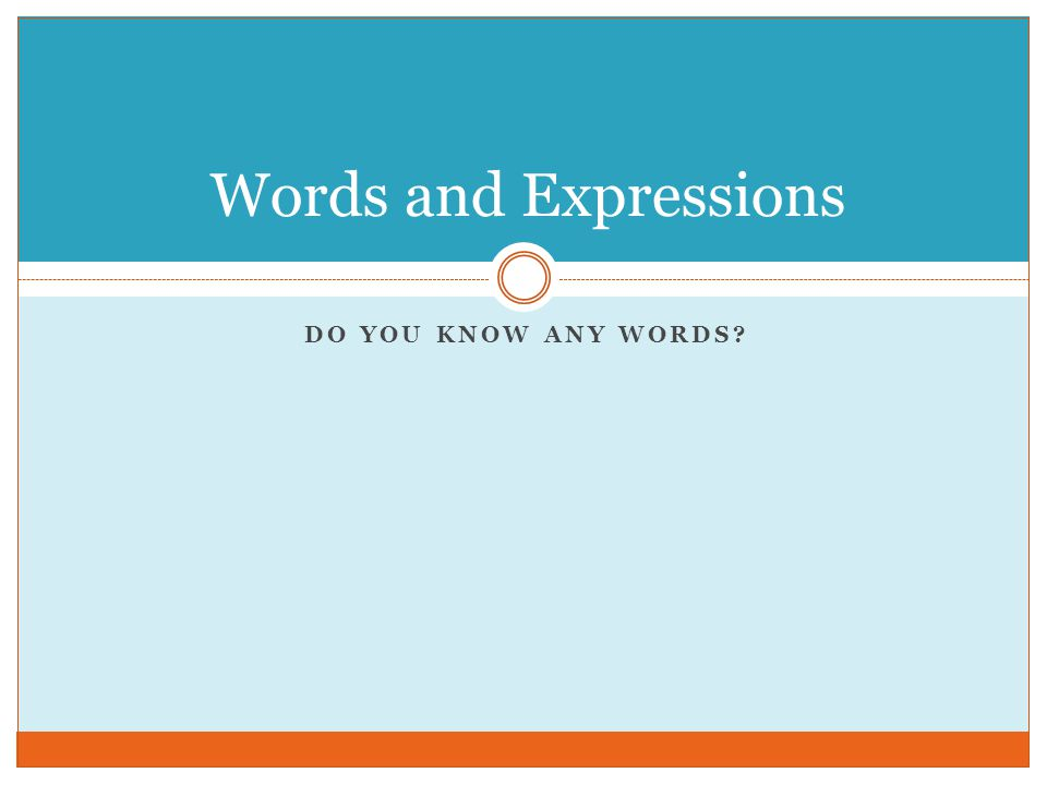 DO YOU KNOW ANY WORDS? Words and Expressions