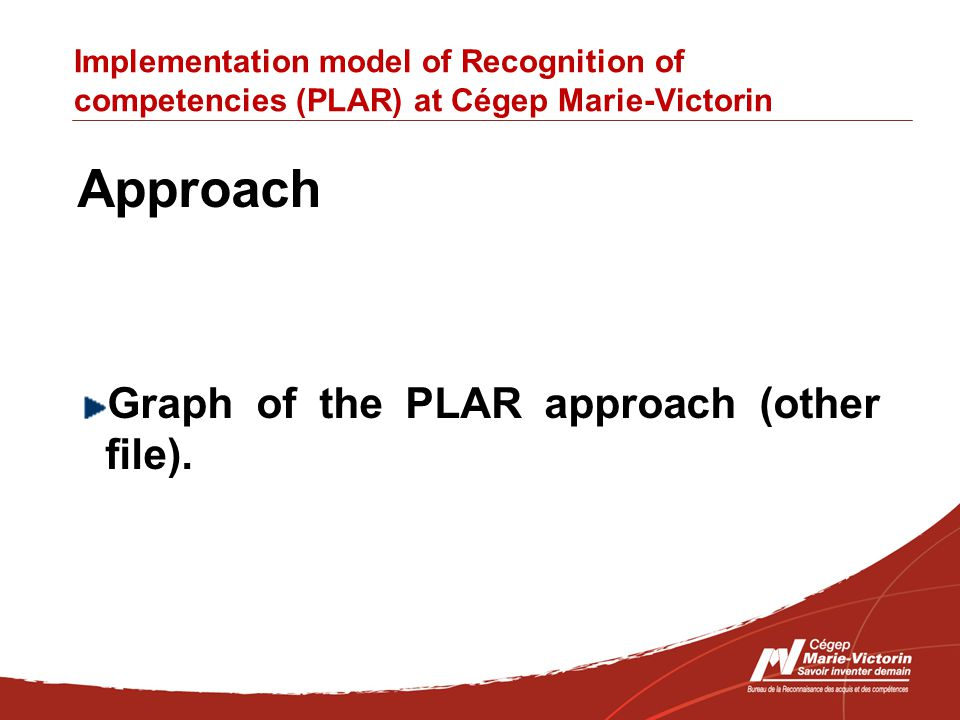 Implementation model of Recognition of competencies (PLAR) at Cégep Marie-Victorin Approach Graph of the PLAR approach (other file).