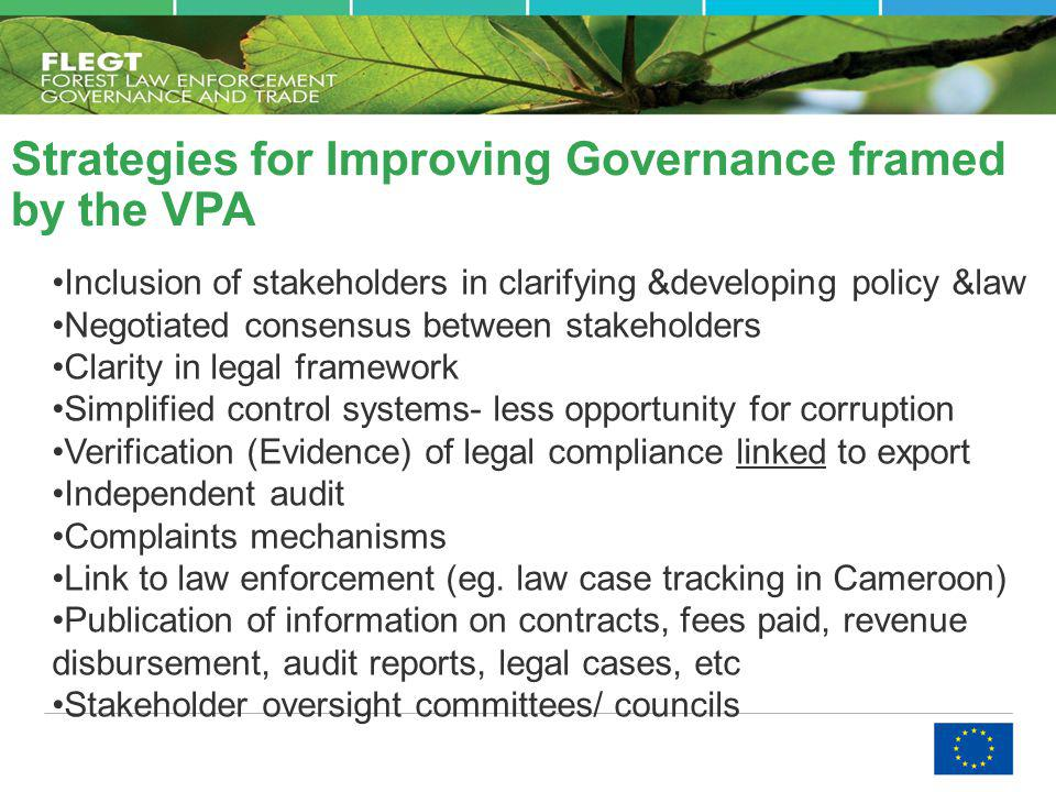 Inclusion of stakeholders in clarifying &developing policy &law Negotiated consensus between stakeholders Clarity in legal framework Simplified contro