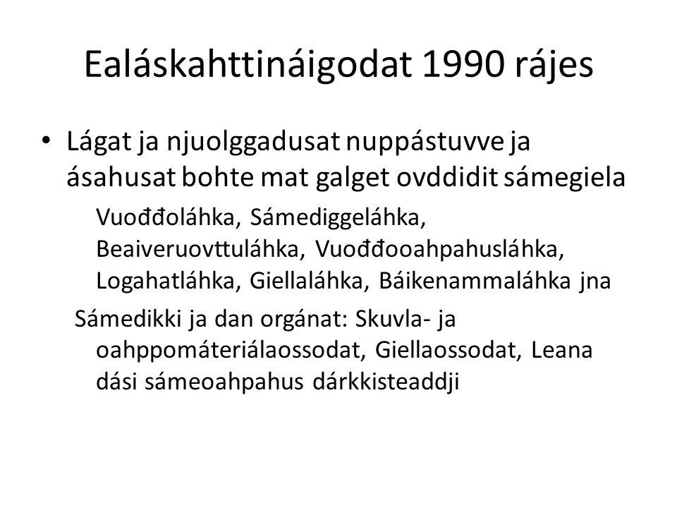 Ealáskahttináigodat 1990 rájes Lágat ja njuolggadusat nuppástuvve ja ásahusat bohte mat galget ovddidit sámegiela Vuo đđ oláhka, Sámediggeláhka, Beaiveruovttuláhka, Vuo đđ ooahpahusláhka, Logahatláhka, Giellaláhka, Báikenammaláhka jna Sámedikki ja dan orgánat: Skuvla- ja oahppomáteriálaossodat, Giellaossodat, Leana dási sámeoahpahus dárkkisteaddji