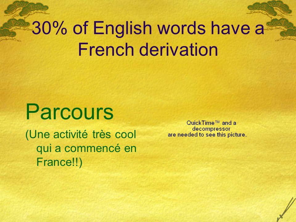 30% of English words have a French derivation Parcours (Une activité très cool qui a commencé en France!!)