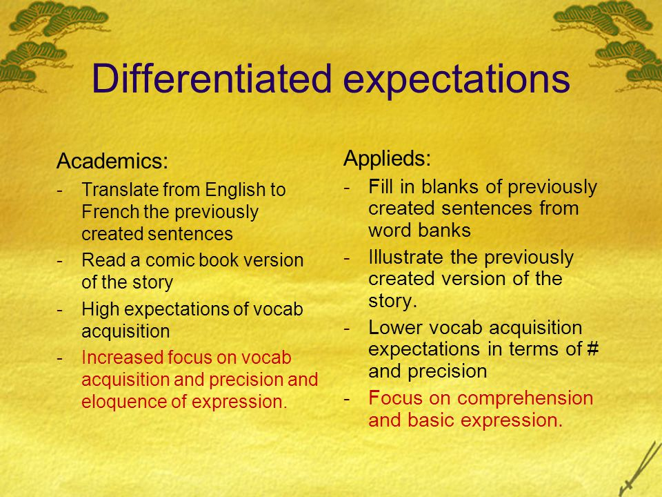 Differentiated expectations Academics: -Translate from English to French the previously created sentences -Read a comic book version of the story -High expectations of vocab acquisition -Increased focus on vocab acquisition and precision and eloquence of expression.