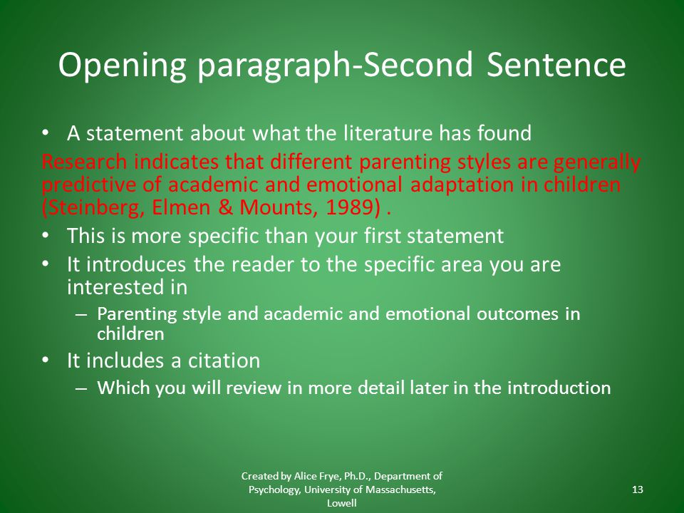 Opening paragraph-Second Sentence A statement about what the literature has found Research indicates that different parenting styles are generally pre