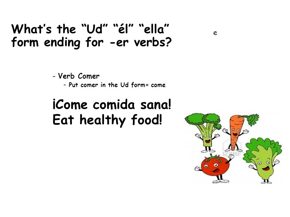 What's the Ud él ella form ending for -ir verbs.