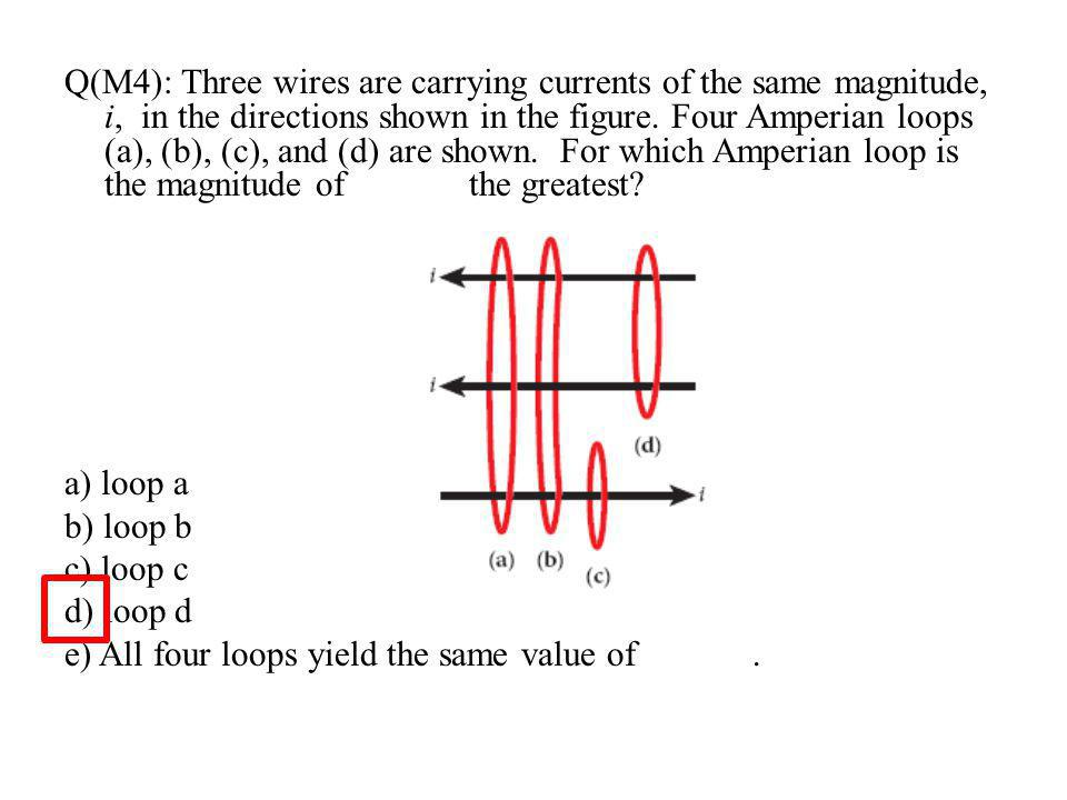 Q(M4): Three wires are carrying currents of the same magnitude, i, in the directions shown in the figure.