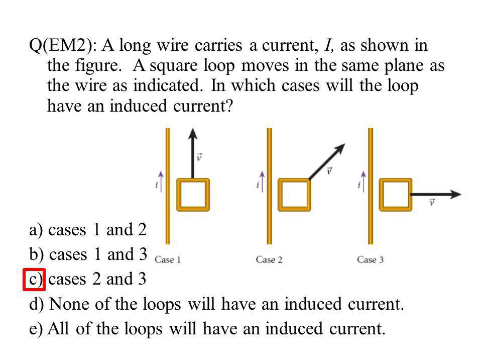 Q(EM2): A long wire carries a current, I, as shown in the figure.