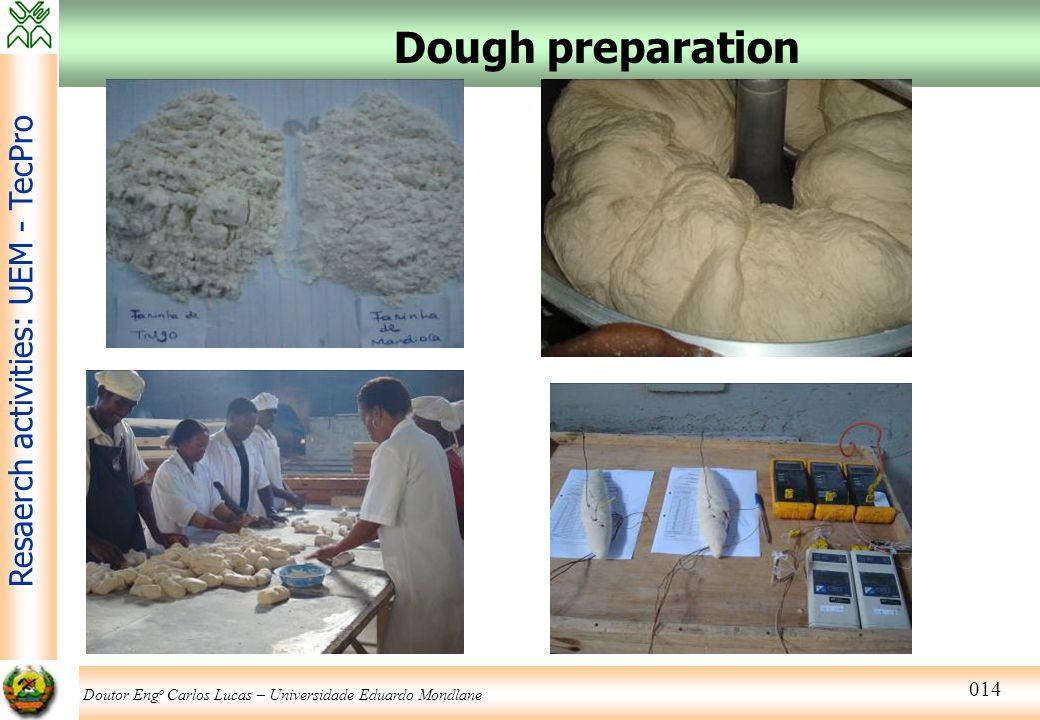 Doutor Eng o Carlos Lucas – Universidade Eduardo Mondlane Resaerch activities: UEM - TecPro 014 Dough preparation