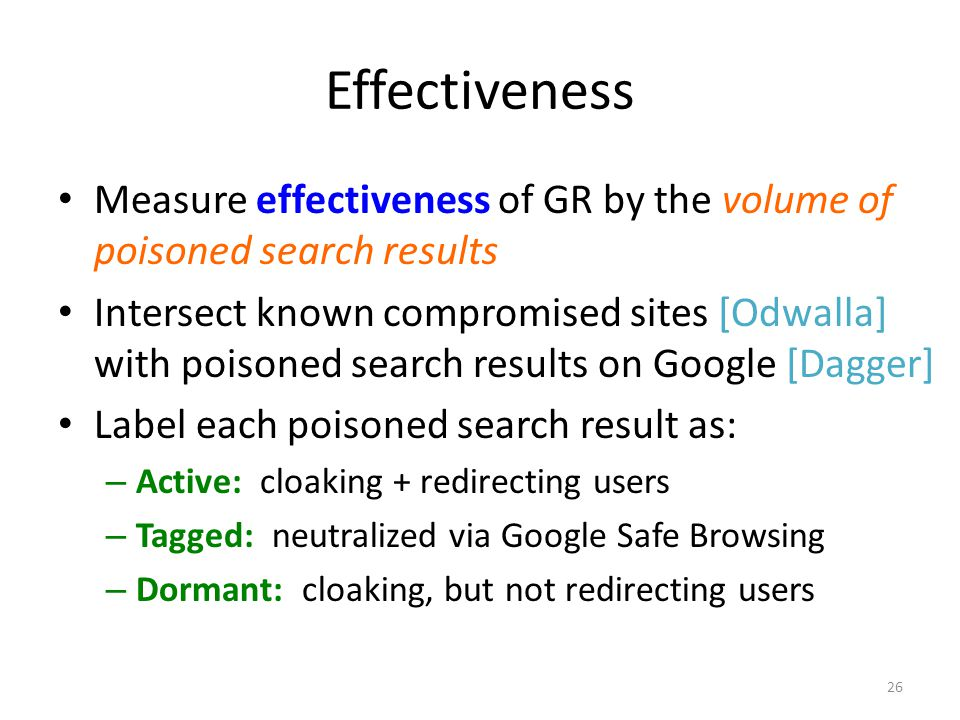 Effectiveness Measure effectiveness of GR by the volume of poisoned search results Intersect known compromised sites [Odwalla] with poisoned search re