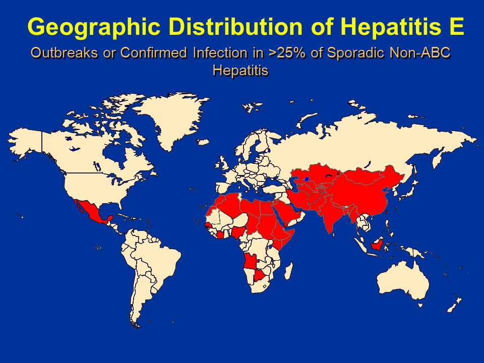 Geographic Distribution of Hepatitis E Outbreaks or Confirmed Infection in >25% of Sporadic Non-ABC Hepatitis