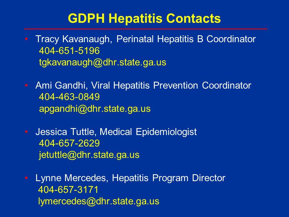 GDPH Hepatitis Contacts Tracy Kavanaugh, Perinatal Hepatitis B Coordinator 404-651-5196 tgkavanaugh@dhr.state.ga.us Ami Gandhi, Viral Hepatitis Preven