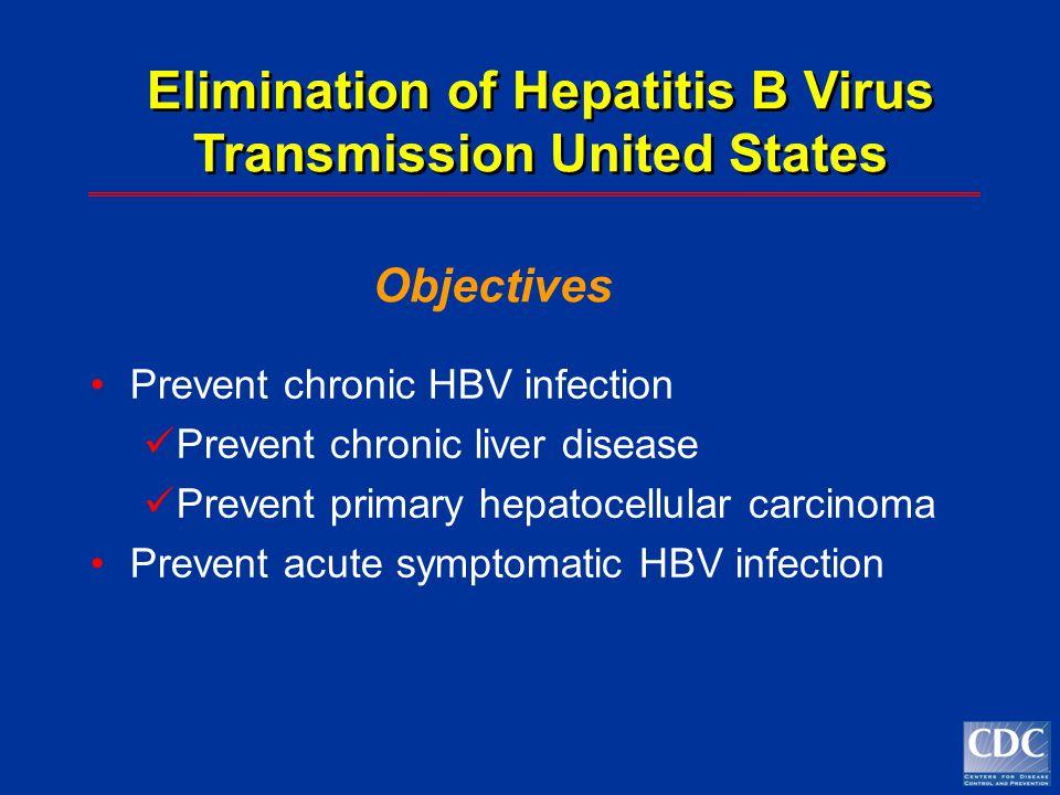 Prevent chronic HBV infection Prevent chronic liver disease Prevent primary hepatocellular carcinoma Prevent acute symptomatic HBV infection Eliminati